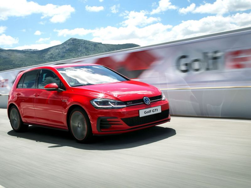 The front of the Golf GTI Performance on a racing track
