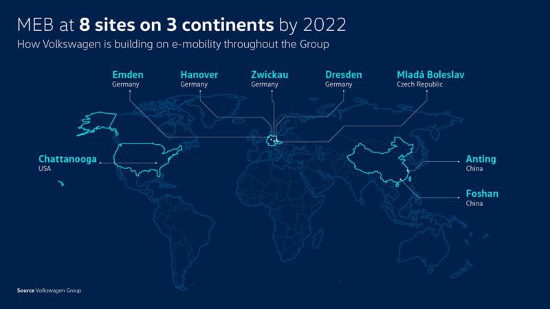 Map of MEB biuilding Volkswagen sites worldwide