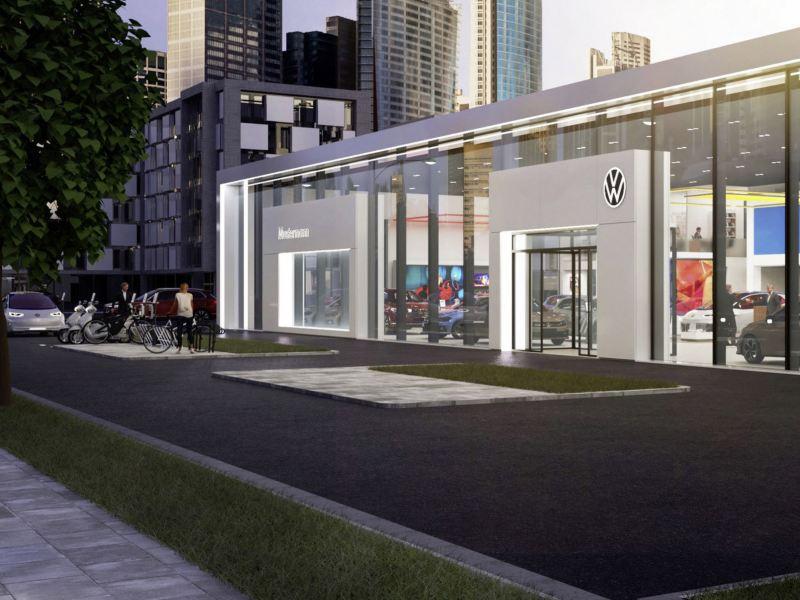 Bildet viser fasaden på en Volkswagen Nyttekjøretøy-forhandler som selger varebiler