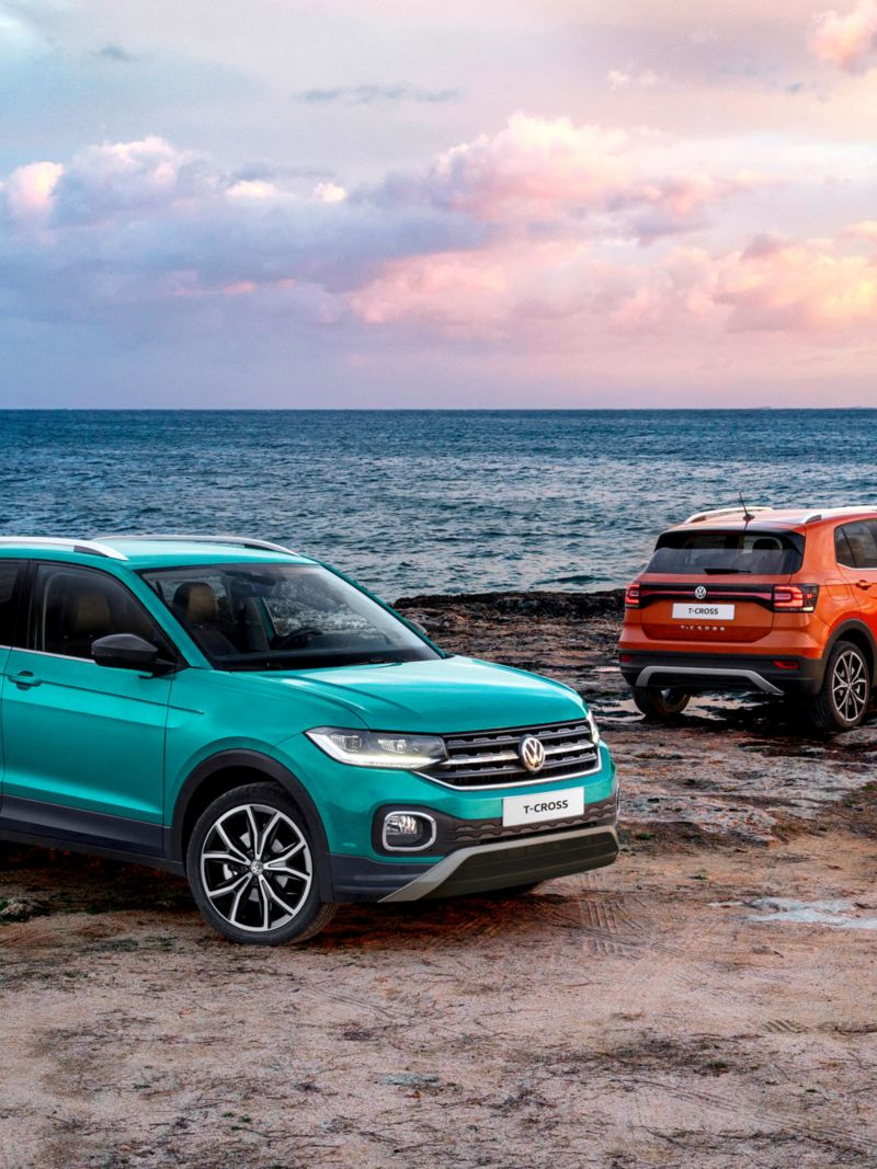 Two VW T-Cross by the ocean