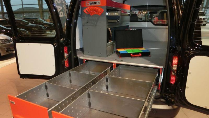 vw Volkswagen bilinnredning varebilinnredning Würth Sortimo Smartfloor varebil Transporter Caddy Amarok Crafter kassebil