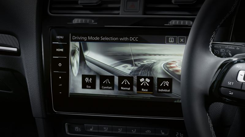 Driving mode selection on a dashboard