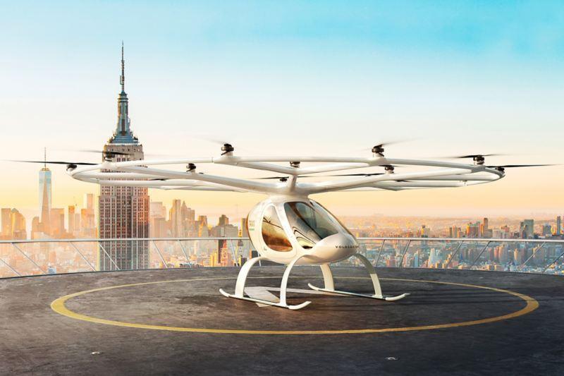 Il drone taxi Volocopter sul tetto di un edificio