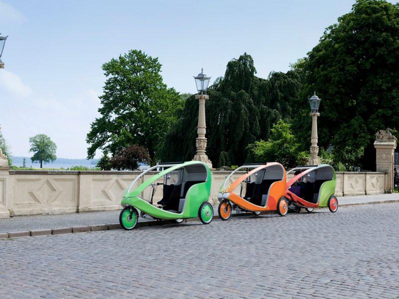 Pedicabs stehen bereit für Gäste