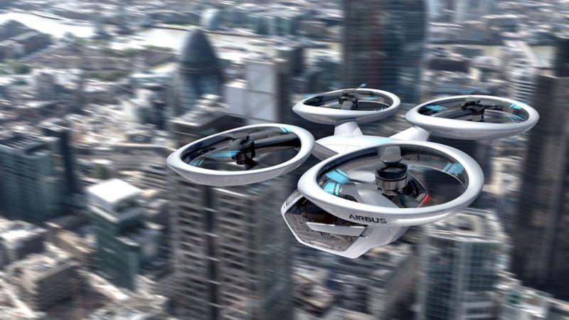 Airbus Flugdrohne fliegt in der Stadt