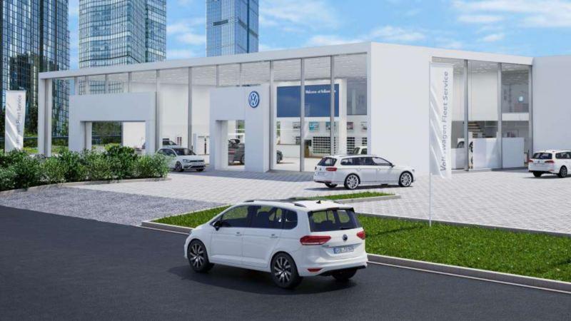 Volkswagen bilar står parkerade utanför återförsäljare