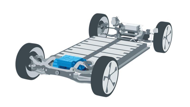 Ilustracja napędu elektrycznego Volkswagena