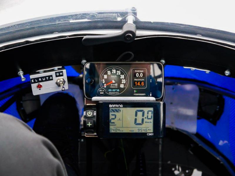 "The cockpit of the ""PodRide"" electric vehicle"
