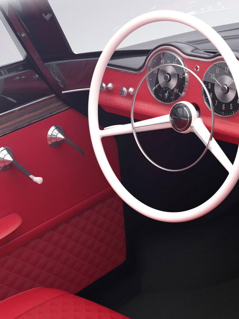 Tablica rozdzielcza w stylu retro w samochodzie elektrycznym