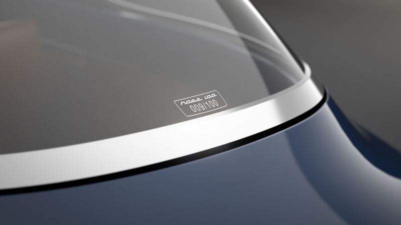 "The ""Nobe 100"" electric vehicle's rear window"
