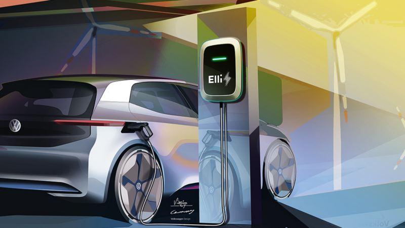 Ricarica di auto elettriche da Wallbox con corrente distribuita dal fornitore di energia Elli