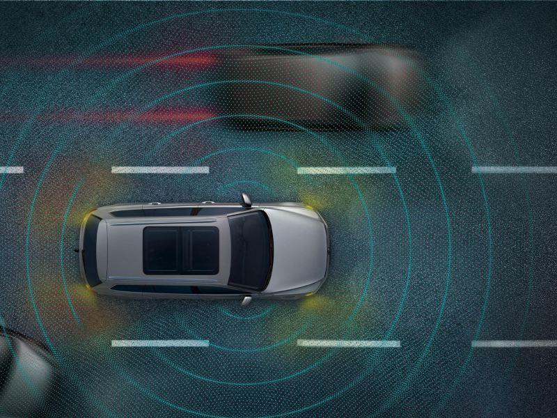 Infografica dopo che l'Emergency Assist attivo su e-Golf Volkswagen ha fermato l'auto nel traffico