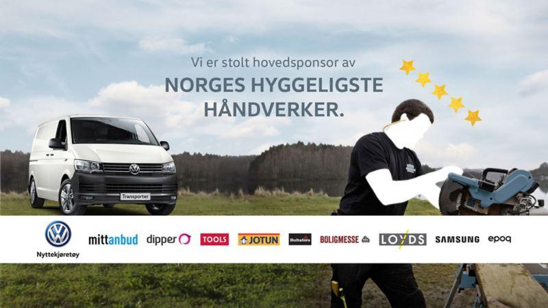 Stolt hovedsponsor norges hyggeligste håndverker Mitt Anbud vw Volkswagen Transporter varebil håndverker