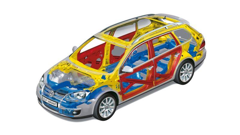 Volkswagen trasparente con gli assi visibili
