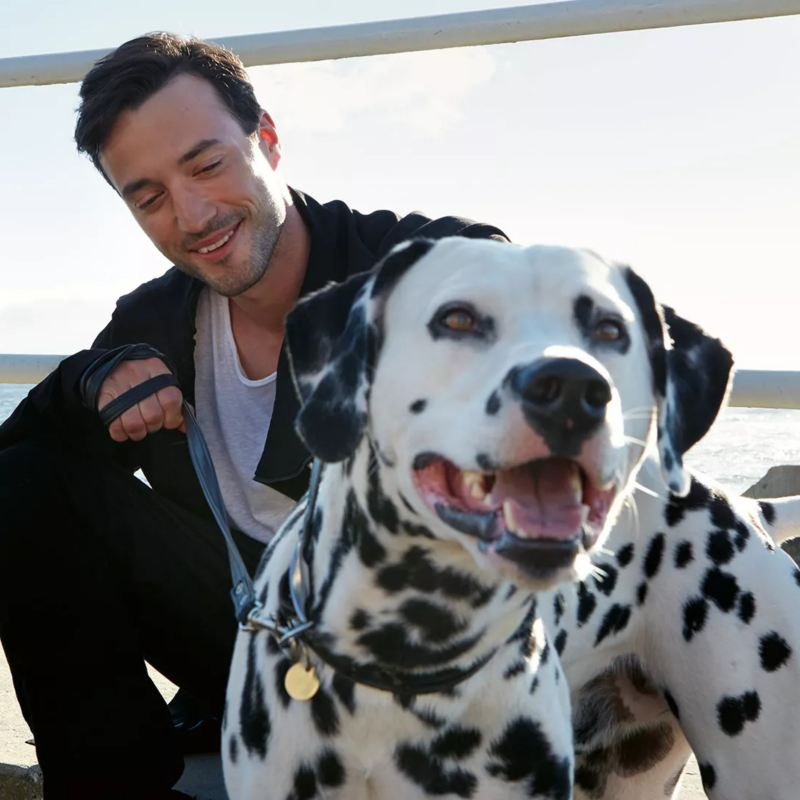 Man with dalmatian dog