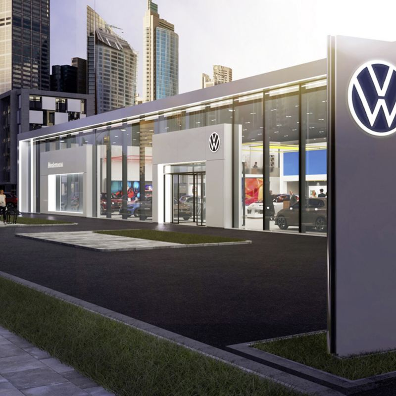Woman at her Volkswagen's retailer