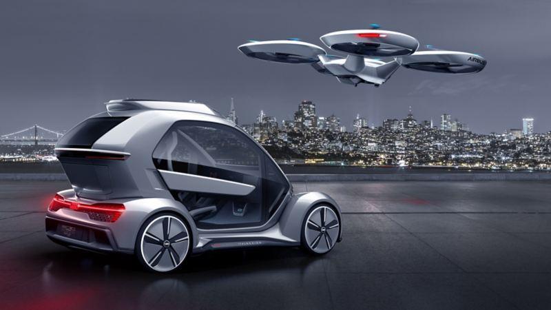 Auto a guida autonoma e taxi volante di Airbus (l'immagine mostra la concept car)