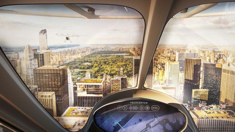 Vista dalla plancia del Volocopter X