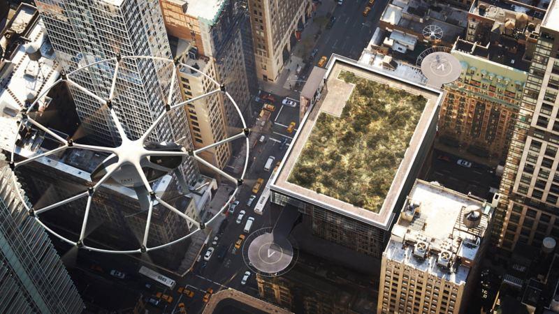 Volocopter X2 in volo su una città
