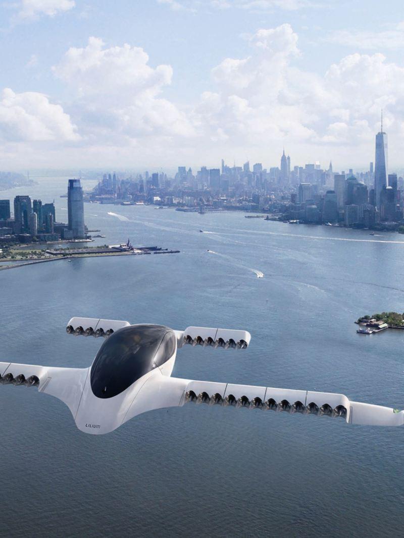 Il taxi volante Lilium Jet in volo sopra New York