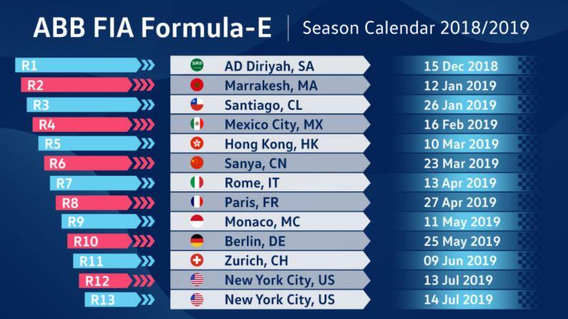 """Calendario della stagione di """"Formula E"""" 2018/2019"""