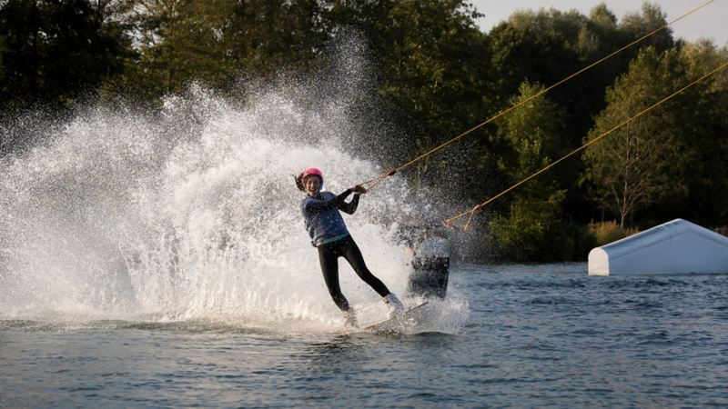 A woman water skiing