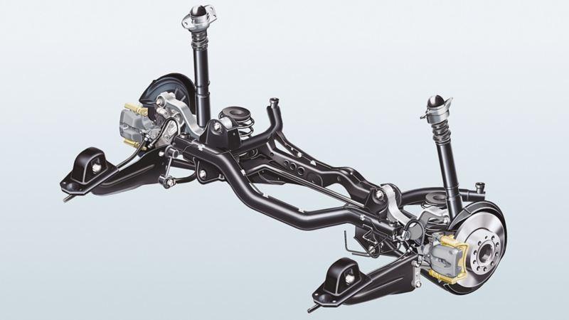 Abbildung einer Volkswagen Mehrlenker-Hinterachse