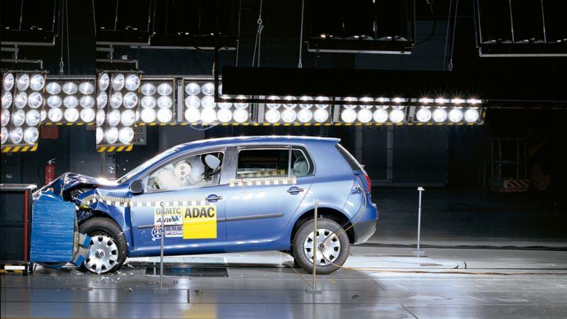 A Volkswagen doing a crash test