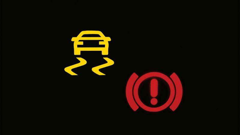 Antriebsschlupfregelung (ASR) Warnleuchte in einem VW Golf
