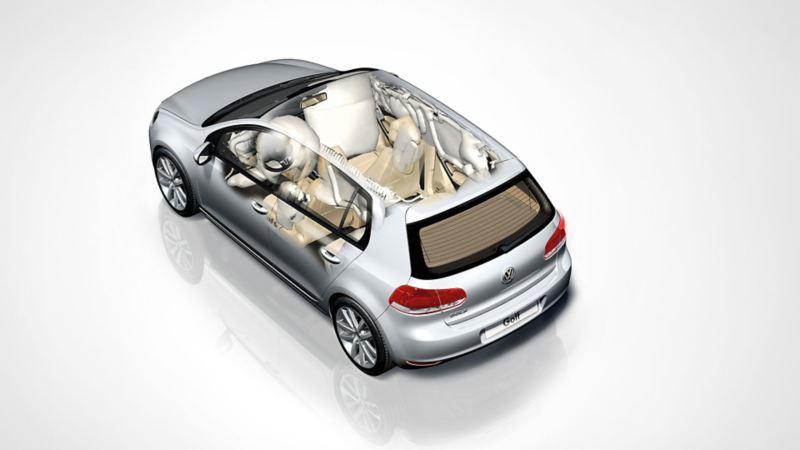 Schematyczna prezentacja systemu poduszek i pasów bezpieczeństwa w VW Golfie