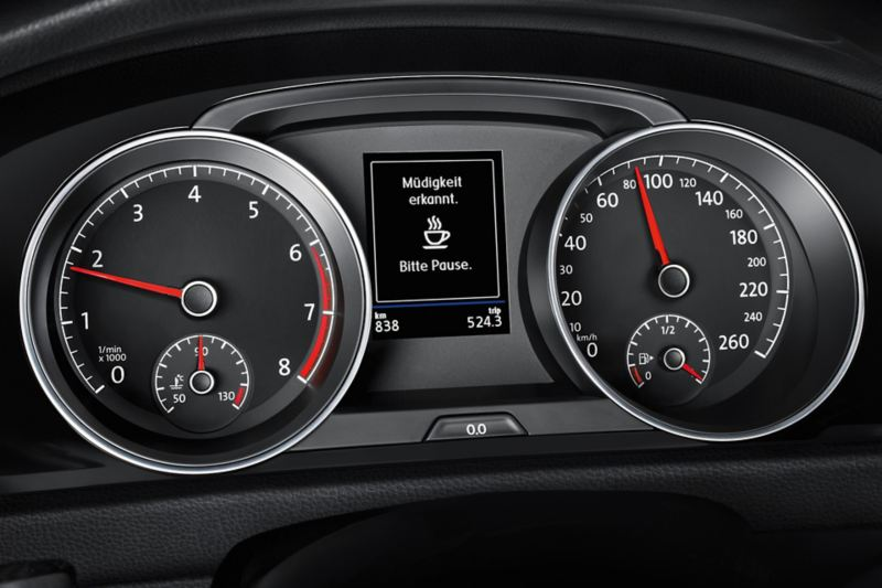 Detailed image of the Golf Sportsvan cockpit with driver alert system