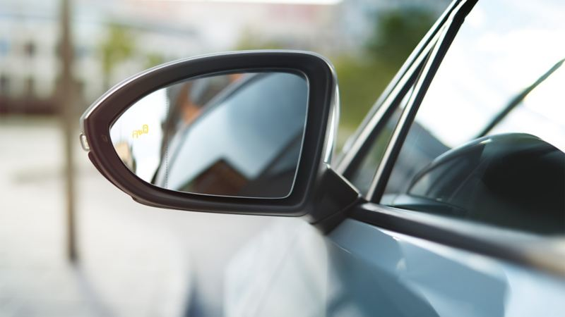 Image detail of a VW Golf rear view mirror