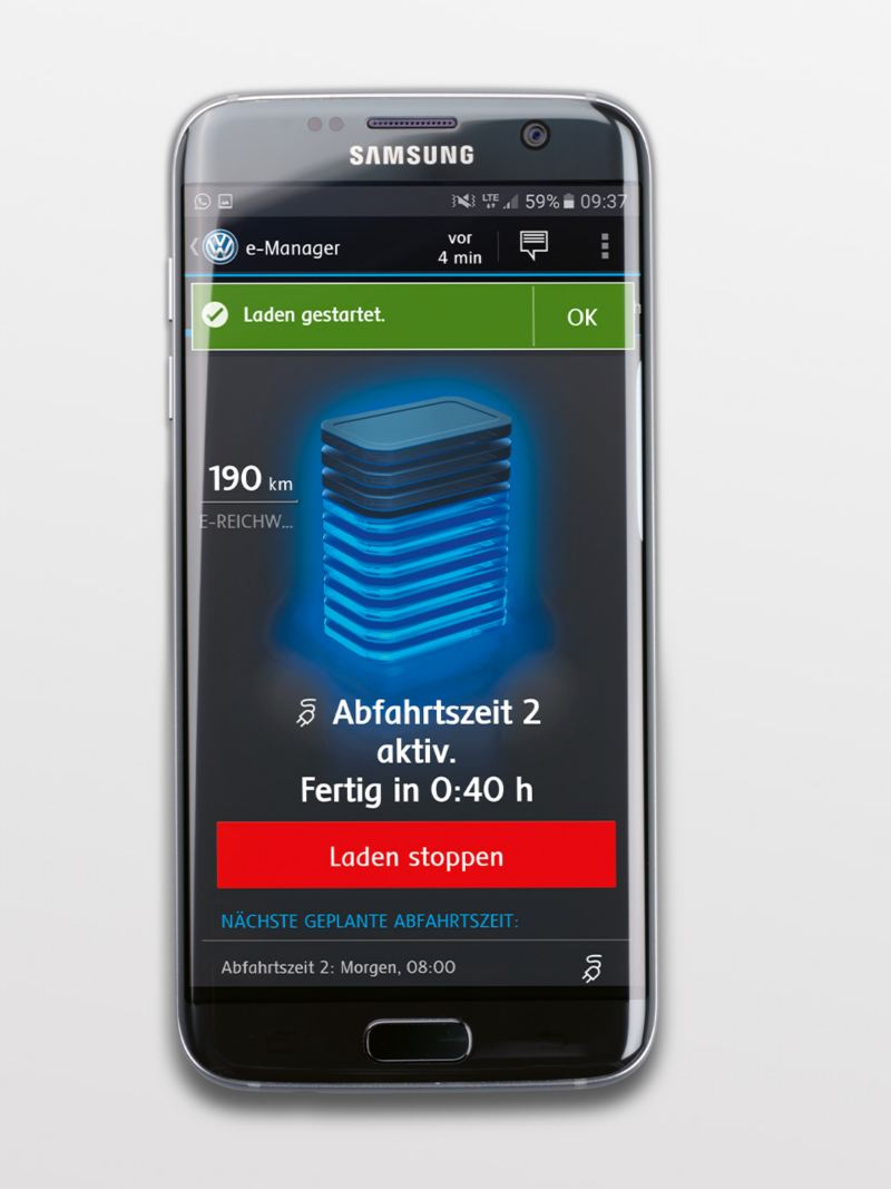e-manager with charging status in a smartphone app
