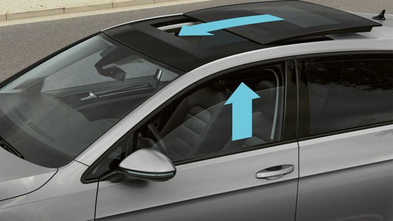 Blick auf einen Volkswagen von oben, Pfeile zeigen die Funktion des proaktiven Insassenschutzsystems