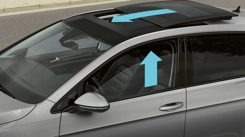 View of a Volkswagen from above, arrows indicate the proactive occupant protection system function