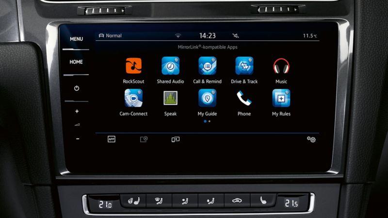 Darstellung des Boardcomputers eines VW Golfs, Detail Car-Net App-Connect