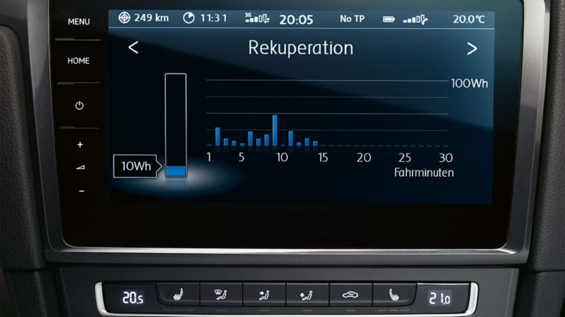 View of an infotainment system, recuperation display