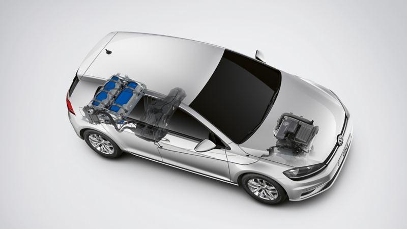 Schematische Darstellung des bivalenten Antiebs in einem VW Golf