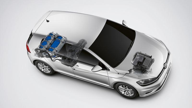 Schematische Darstellung des CNG (Compressed Natural Gas) in einem Volkswagen