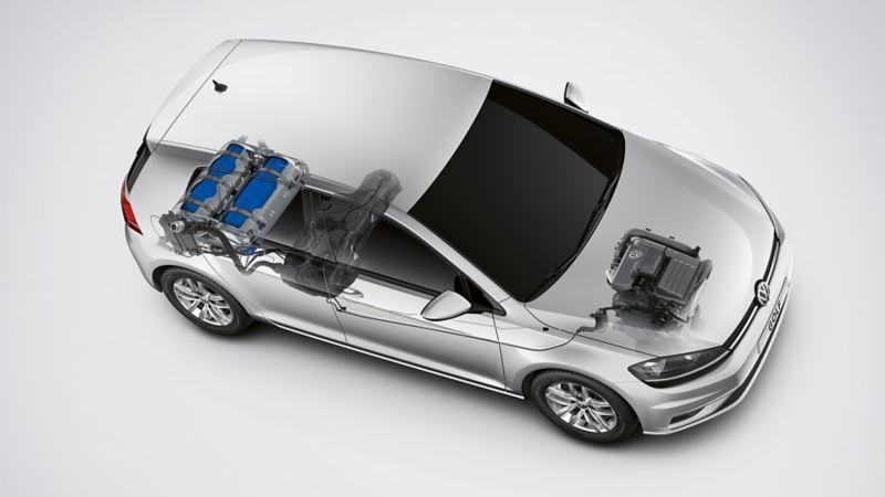 Schematische Darstellung des TGI Motors im VW Golf