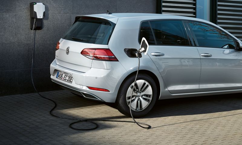 VW e-Golf charging on a wall box