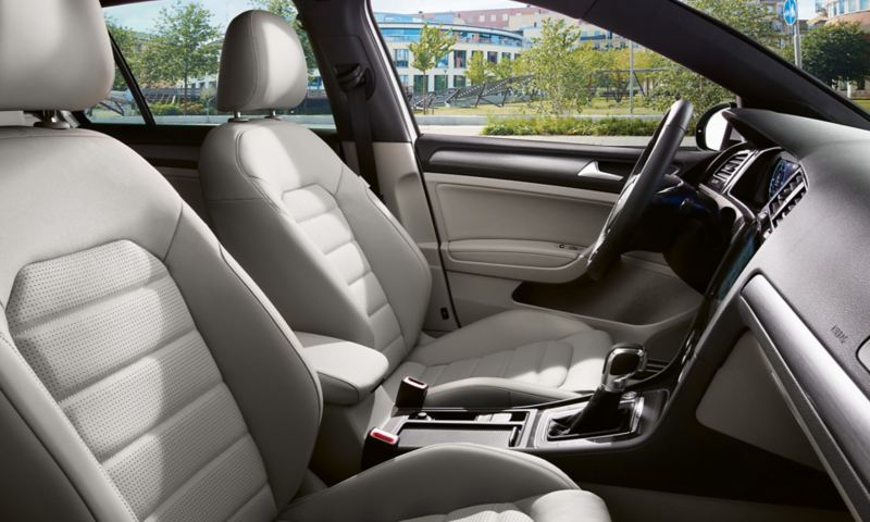 interior of the VW e-Golf with light colored leather seats