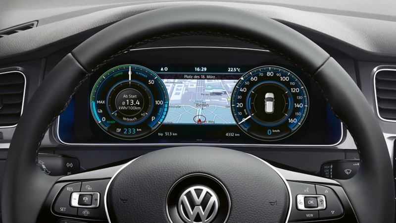 VW e-Golf – Digital Cockpit med navigationskort