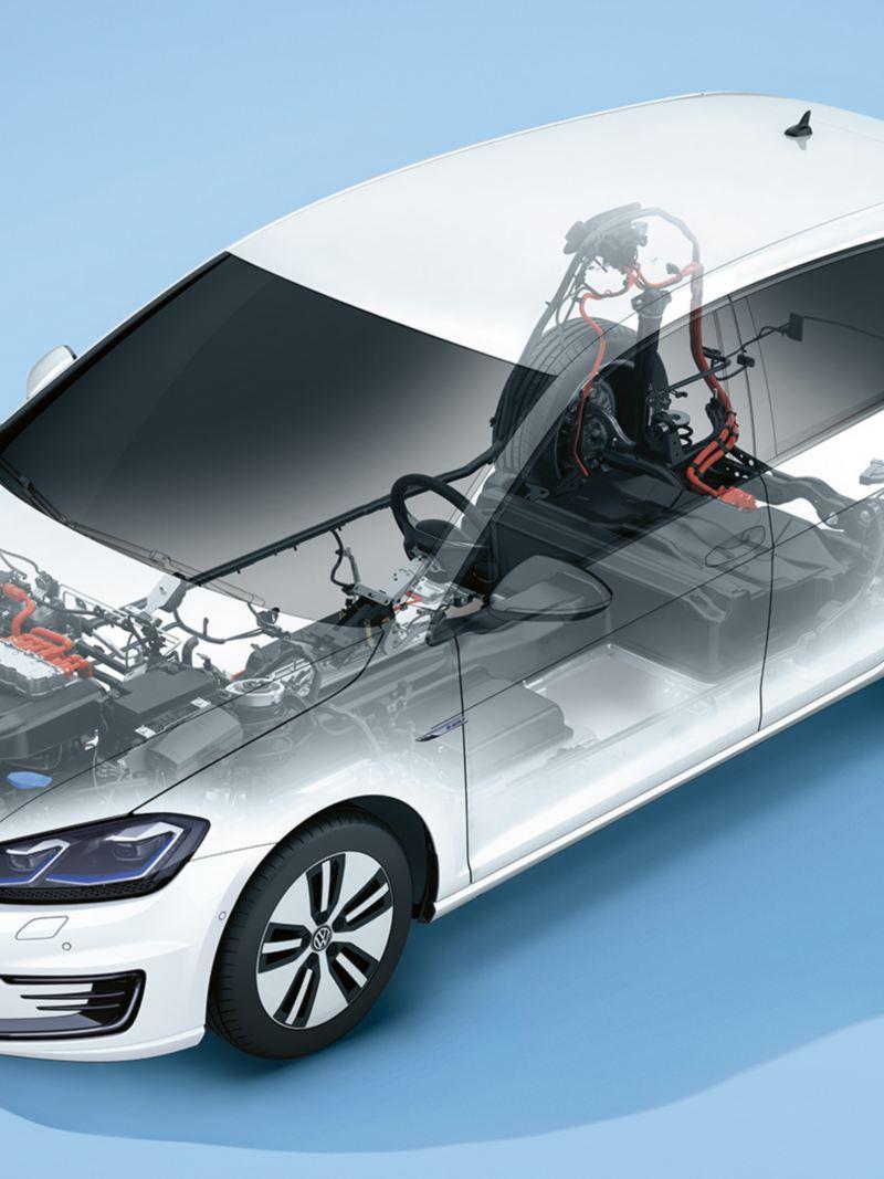 przeźroczysty VW e-Golf z widoczną baterią i silnikiem elektrycznym