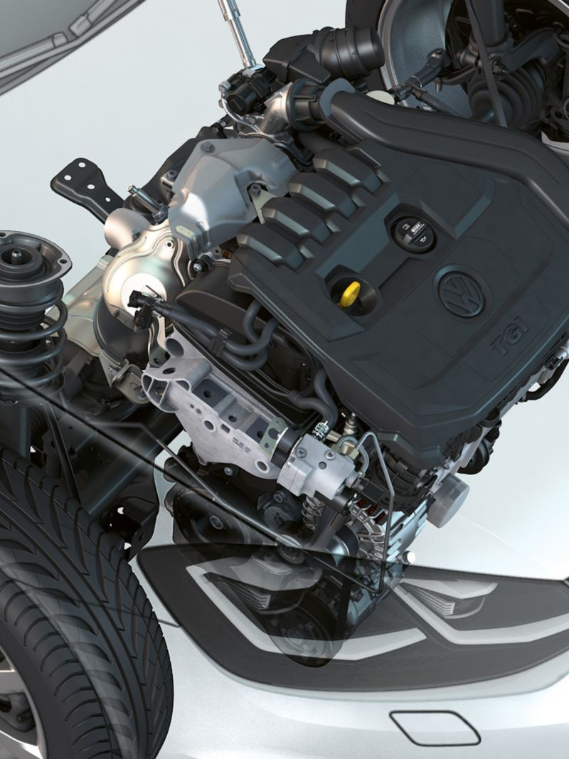 Motor im VW Golf Variant TGI