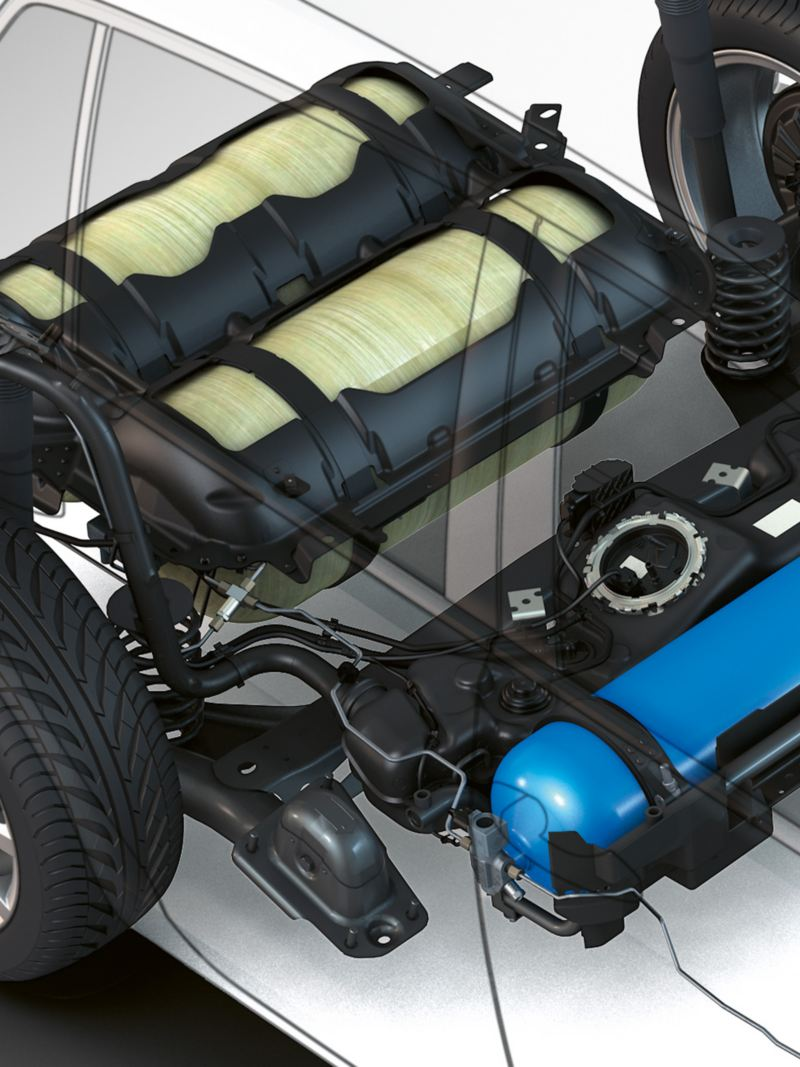 Erdgas-Tanks im VW Golf Variant TGI