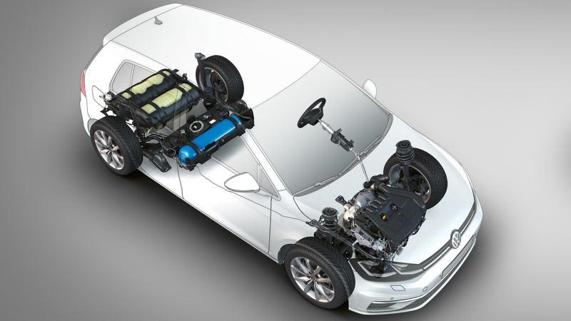 Rappresentazione schematica dell'alimentazione bivalente su una Volkswagen Golf