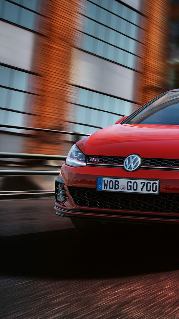 The VW Golf GTI driving on a road