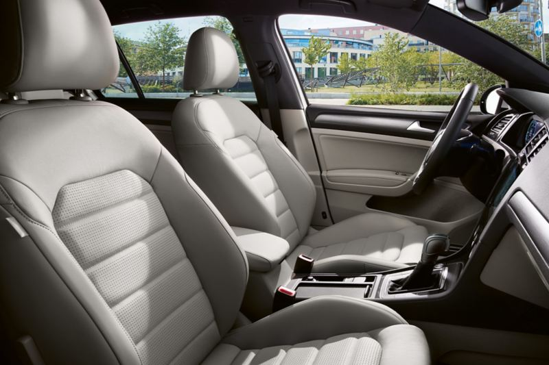 VW Golf Interior with light leather seats