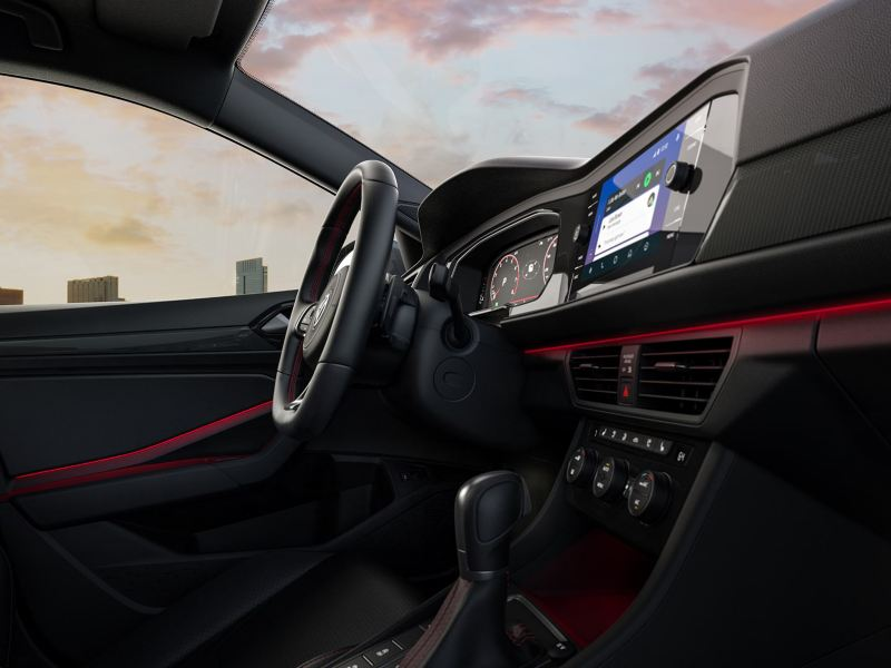 The interior of the Jetta GLI, just as striking as its exterior